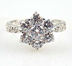 Gorgeous Woman's Flower Round Cut White Sapphire 925 Silver Ring Size 6-10