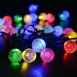 20' Long 30 LED Colored Solar Power Light String. Outdoor Party Deck Patio Garde