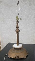 Antique Art Deco Cast Iron & Marble Based Copper Finished Table Lamp Works