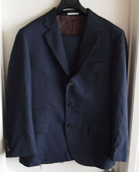 Brunello Cucinelli Men's Size 50 Navy Blue 100% Wool Suit Made In Italy Used