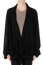 HAIDER ACKERMANN New Woman Black Cashmere Wool open Cardigan Sweater Made ITALY