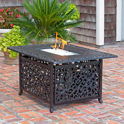 CAST ALUMINUM LPG Rectangle FIRE PIT 2 Covers + Clear Fire Glass DELIVERED