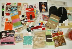 Large lot of Mixed Craft Supplies - Sewing Buttons Rick Rack Cross Stitch+