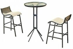 Coffe Table Chairs Set Furniture Bistro Patio Pub Bar Height Home Outdoor Living
