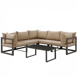 Modway EEI-1732-BRN-MOC-SET Fortuna 6 Piece Outdoor Patio Sectional Sofa Set In