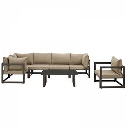 Modway EEI-1733-BRN-MOC-SET Fortuna 7 Piece Outdoor Patio Sectional Sofa Set In