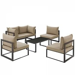 Modway EEI-1726-BRN-MOC-SET Fortuna 6 Piece Outdoor Patio Sectional Sofa Set In