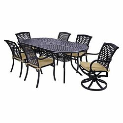 NEW Commercial Grade Patio Rust Free Cast Aluminum 7 Pc Dining Set Swivel Chairs