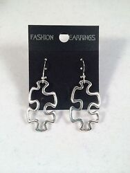 Autism Awareness Puzzle Piece Dangle Earrings Silver Womens Gift Girls $6.36