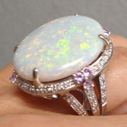 Large 16.30 Ct Fire Opal Diamonds Pink Sapphire 18k W Gold Ring Fine Jewelry