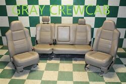 08-10 F-250 Gray Leather Power Electric Buckets Seats Backseat Crew OEM Memory