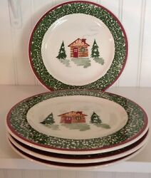 Tre Ci~Made in Italy~ Christmas Cabin SaladDessert Plates set of  4