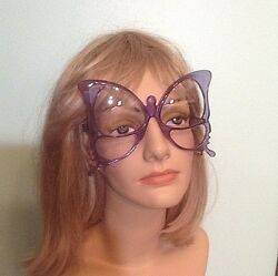 Rare Vintage Anglo American Purple Butterfly Oversize Frame Eyeglasses England