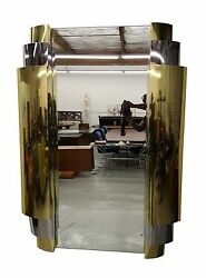 HUGE ART DECO STYLE TIERED CHROME AND BRASS WALL MIRROR BY CURTIS JERE - SIGNED