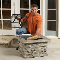 Natural Stone Fire Pit Outdoor Wood Burning Garden Backyard Fireplace Patio Smor