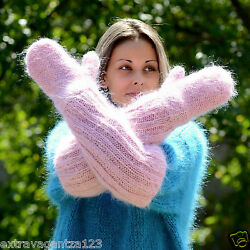 PINK Hand Knitted MOHAIR Mittens Fuzzy Soft Gloves Hand warmer by  EXTRAVAGANTZA