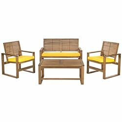 4 Piece Acacia Patio Furniture Set Outdoor Home Collection Brown and Yellow new