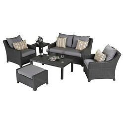 Outdoor Patio Furniture Deals Bliss 6 Piece Loveseat Chairs Hand Woven Grey Set