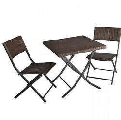 Patio Deck Outdoor Bistro Cafe Furniture Wicker Set Piece Table And Chairs