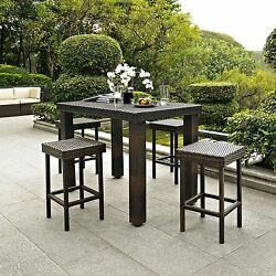 Bar Height Patio Furniture 5 Pc Counter Dining Set Outdoor Garden Table Chairs