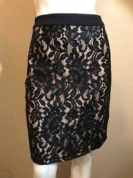 Bebe Foil Lace Pencil Skirt Size 8 $14.49