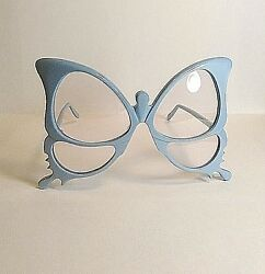 Vintage Anglo American Optical Blue Butterfly Eyeglasses Frame England Hand Made