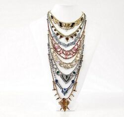 ERICKSON BEAMON Necklace Vintage Multi Facted Crytals 8 Tiers Statement Piece