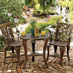 3pcs Patio Table Chairs Iron Furniture Balcony Bellagio Bistro Antique Vintage