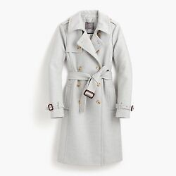 J.Crew ICON TRENCH COAT ITALIAN Wool Cashmere HEATHER SILVER GRAY NWT! ~ SIZE 2
