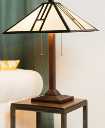 Table Lamp Tiffany Art Deco Style Stained White Gold Glass Shade Bronze Finish