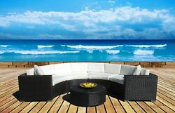 Outdoor Patio Furniture Sofa Sectional Wicker 5pc Round Resin Couch Set