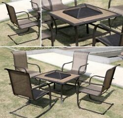 5 PCS Patio Furniture Set Chair Large Fire Pit Table Cover Steel Frame Outdoor