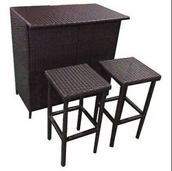 Patio Counter Height Dining Table Stool Bar Pub Rattan Modern Garden Furniture