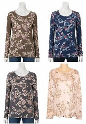 Sonoma Everyday Tee Floral Crew Top Long Sleeve Womens Size S M L XL NEW $18 $12.50