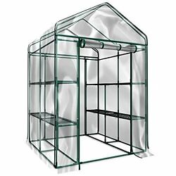 Walk In Greenhouse Clear Cover 12 Shelves Stands 3 Tiers Racks Plants Garden NEW