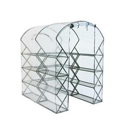 Harvest House Pro Greenhouse Plant Flower Shelves Lock Frame Gro-Tec Cover Clear