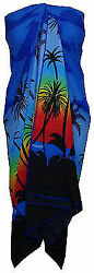 Sarong Women Scenic Coconut Printed Beach Swimsuit Wrap Plus Size Pareo $13.14