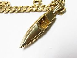 Heavy Speed Boat Necklace in 14k Yellow Gold on Curb Link Chain 172.6 grams