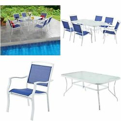 7 Piece Patio Dining Set Outdoor Garden Glass Table With Modern Sling Blue Chair