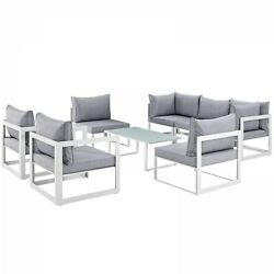 Modway EEI-1725-WHI-GRY-SET Fortuna 8 Piece Outdoor Patio Sectional Sofa Set In
