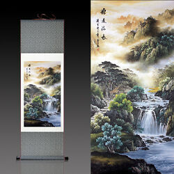 Chinese Silk Scroll Painting Mountain Stream Home Office Decoration(源远流长)