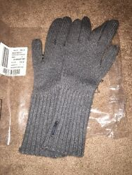 NWT Burberry Cashmere Blend Rib Knitted Grey Touch Long Gloves
