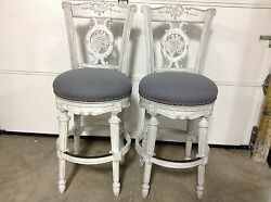 2 Frontgate Provencal Carved Grape dove gray Barstool BAR stools chair 30
