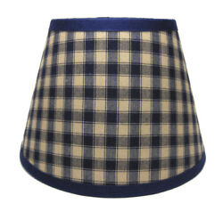 Primitive Navy Plaid Homespun Fabric Lampshade Lamp Shade $29.99