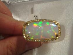 LAST DAYS BEST OFFER!! RARE HUGE 20CT LRG WHITE FIRE OPAL DIAMOND 18KT GOLD RING