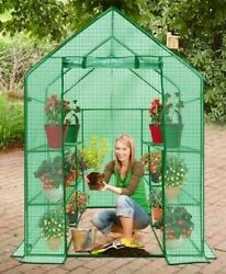 Ogrow Heavy Duty Walk-In Greenhouse 2-Tier w Cover Portable Lawn and Garden New