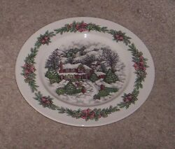 Royal Stafford Christmas Village Log Cabin Serving  Meat Plate Charger NWT
