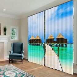 Bridge Houses Cabins Sea 3D Blockout Photo Printing Curtains Draps Fabric Window