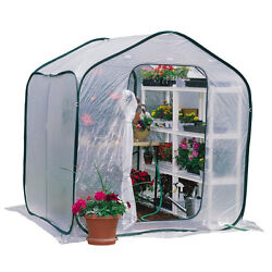 Outdoor Floral Plant Greenhouse White Plastic Cover Metal Frame Portable Walk-In
