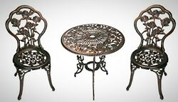 Bistro Dining Set 3pc Cast Iron Outdoor Patio Relax Pool Home Garden Chair Table